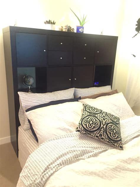 ikea kallax headboard ikea kallax as headboard with plenty of storage loft life bedroom inspo bedroom ikea bed