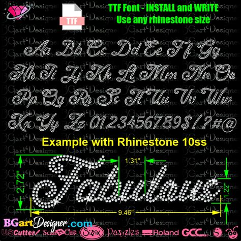 Download script Rhinestone alphabet - Best rhinestone fonts