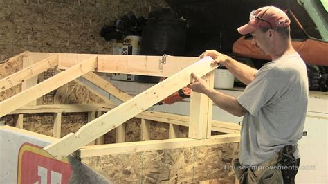build  shed part  building installing rafters youtube