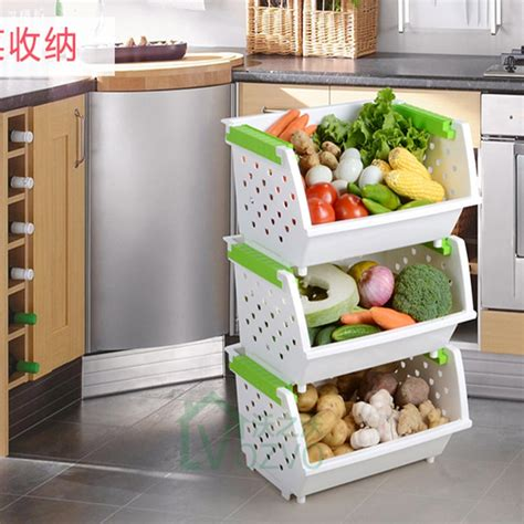 vegetable kitchen storage large stackable storage rack three tiered rack fitted 3122