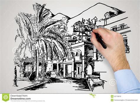 maison moderne de dessin illustration stock image 50718610