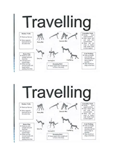 gymnastics travelling task card by jen4000 teaching