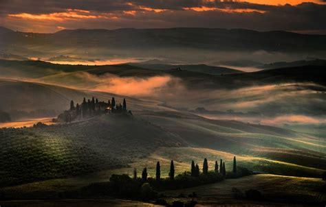 wallpaper clouds hills field  evening italy