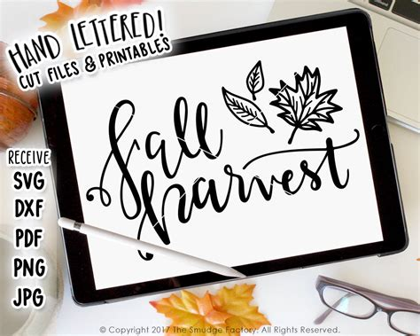 Fall Harvest Svg Fall Leaves Cutting File, Silhouette Svg