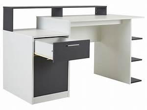 Bureau gris et blanc. bureau avec rangements zacharie blanc et gris