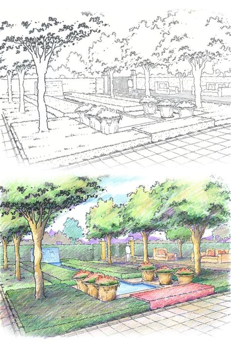 colour landscape architects community outdoor garden design landscape architecture perspective pen and colour pencil