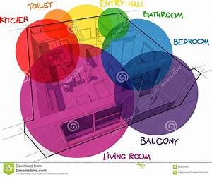 Apartment Diagram With Hand Drawn Notes And Zone Bubbles