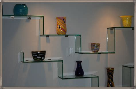 decorative glass shelves for wall