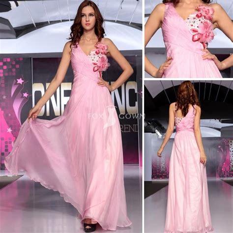 blumen lange blütezeit rosa blumen chiffon lange formelle kleidung linie v ausschnitt mit perlen mieder festliche