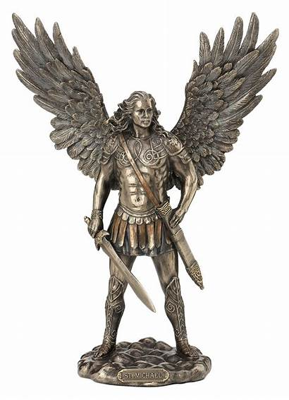 Statue Erzengel Michael Schwert Figur Skulptur Bronziert