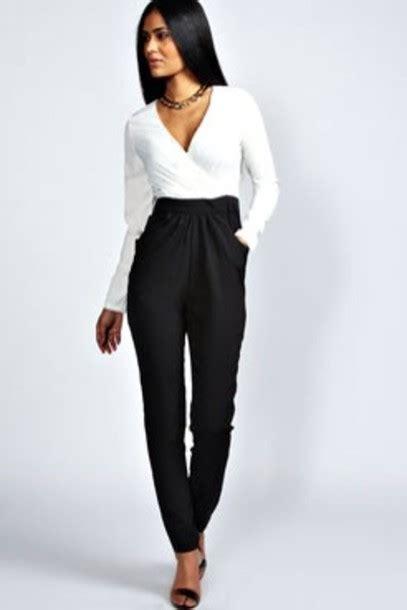 white and black jumpsuit white jumpsuit black jumpsuit wheretoget