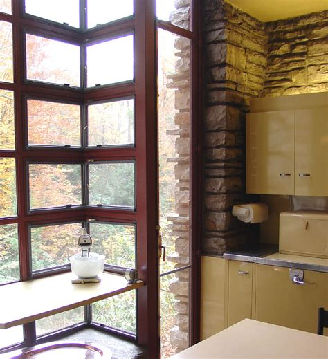 corner windows in interior of fallingwater a frank lloyd wright designed