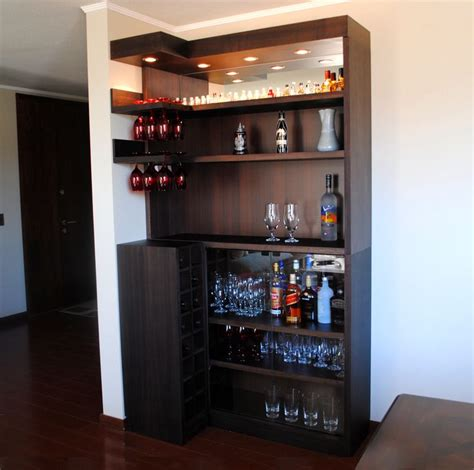 Mini Bar by Bar En L De Coigue Con Luces Y Espejo Organizing Bars