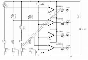 Lm324 Water Level Sensor  Indicator  U2013 Simple Circuit Diagram