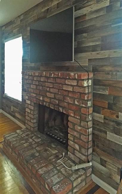 Fireplace Brick Barn Wood Reclaimed Paneling Boards