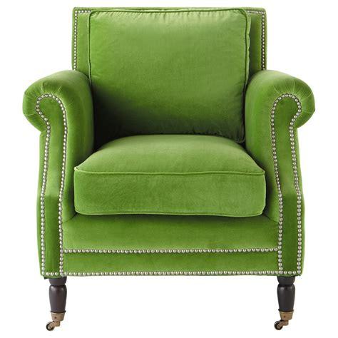 fauteuil en velours vert baudelaire maisons du monde