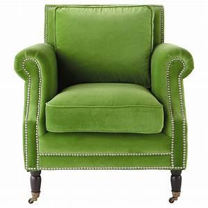 Fauteuil Bergère Maison Du Monde : fauteuil en velours vert baudelaire maisons du monde ~ Zukunftsfamilie.com Idées de Décoration