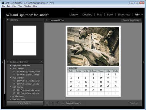 lightroom calendar template