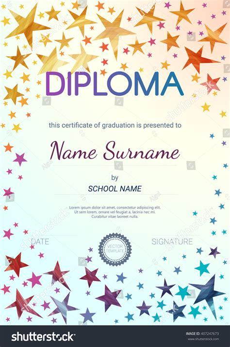 kids diploma certificate design template preschool stock