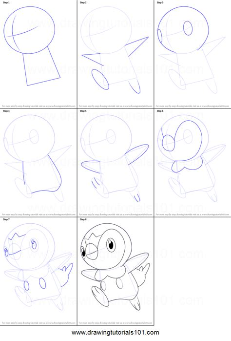 draw piplup  pokemon printable step  step