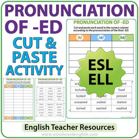 Ed Pronunciation In English  Cut And Paste Activity  Woodward English