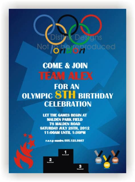 olympic games party invitation london opening