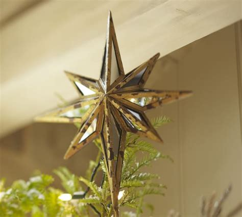 mirrored star tree topper pottery barn