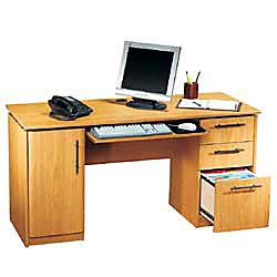 realspace dawson 60 computer desk brushed maple rs to go dawson 60 computer desk 30 h x 60 w x 24 d sky