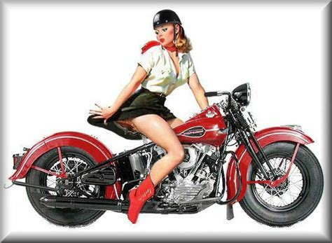 Vintage Harley Davidson Pin-up Girl, Red Bike,flat