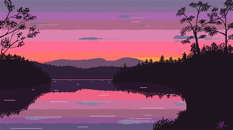 8 Bit Iphone Wallpaper Morning Lake Pixel Art 1920x1080 Need Iphone S Plus Background For Iphonesplus F Wallpaper