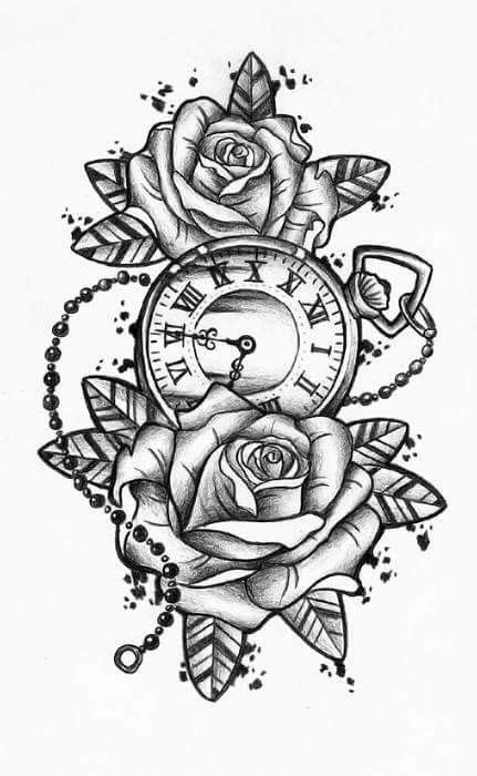 Rose with pocket watch tattoo | Watch tattoos, Pocket watch tattoos, Tattoos