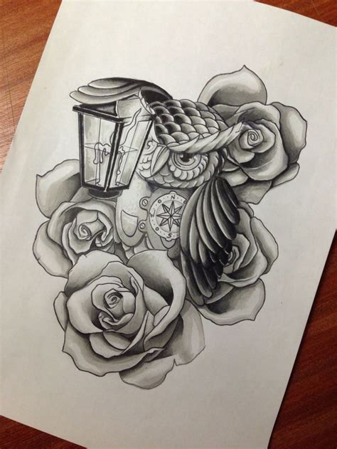 cartoon grey owl  rose  street lamp tattoo design