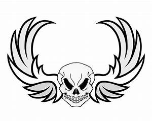 Easy Skull Drawings With Wings - ClipArt Best
