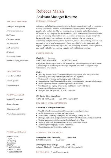 Assistant Resume Description by Assistant Manager Resume Retail Cv Description Exles Template Duties Sles