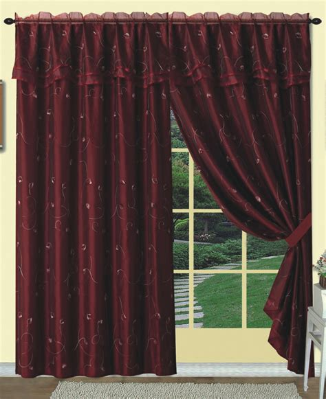 dorothy embroidered sheer curtain burgundy luxury home