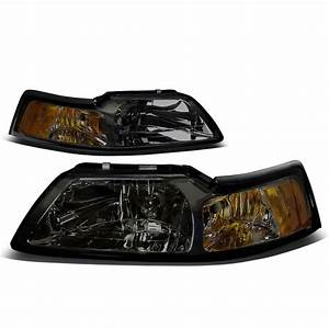 For 1999 to 2004 Ford Mustang OE Style Headlight Smoked Housing Amber Corner Headlamp 4 Gen 00 ...
