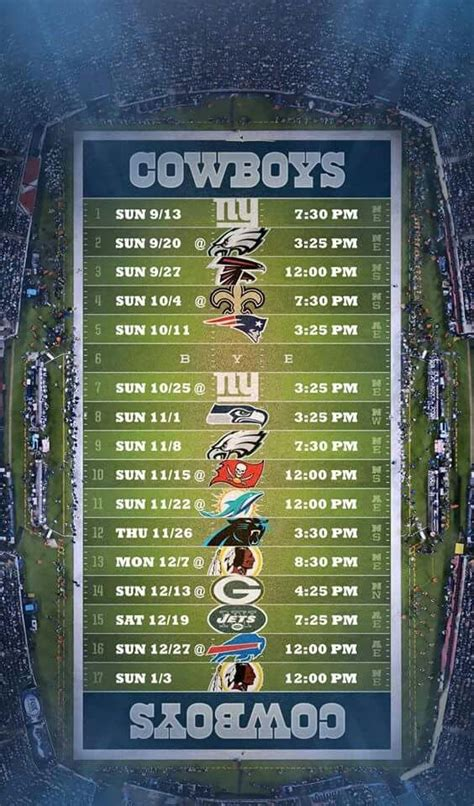 cowboys schedule ideas  pinterest dallas