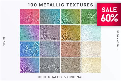 100 Metallic textures have 5 different shapes and 20
