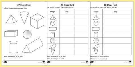 3d shape hunt worksheet worksheet 3d shape hunt