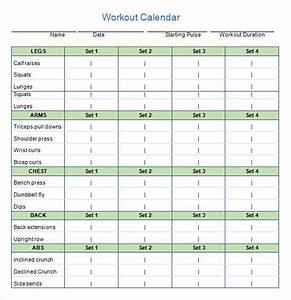 Monthly Workout Calendar Template