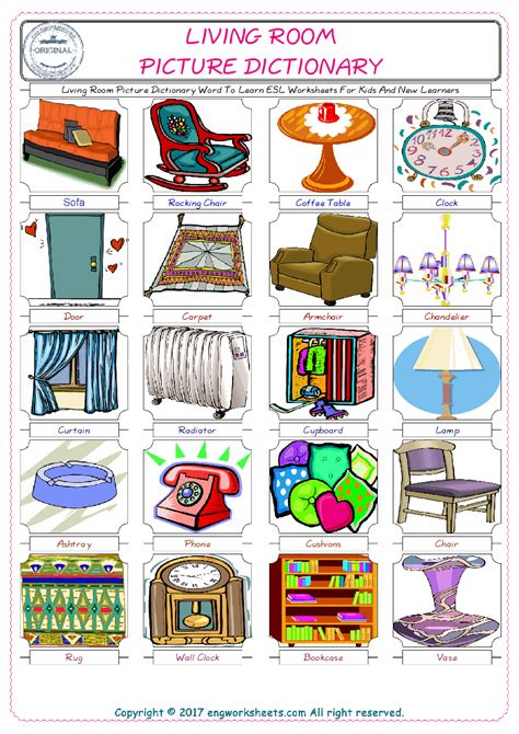 living room esl printable english vocabulary worksheets