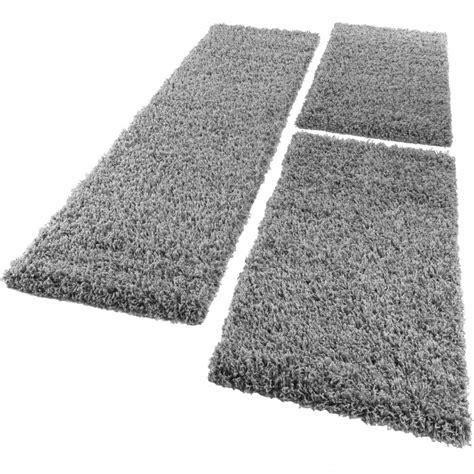 tapis de contour de lit de couloir shaggy poils longs gris