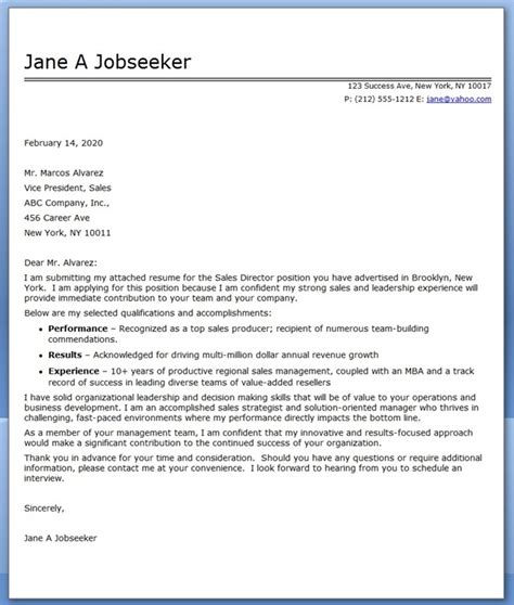 Director Of Sales Resume Cover Letter cover letter sales director resume downloads