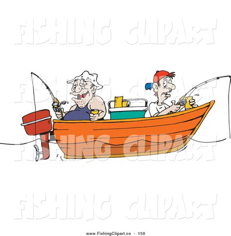 Clipart Of Fishing Boat by Clip Art Of An Obese And Skinny Men Fishing In A Boat By