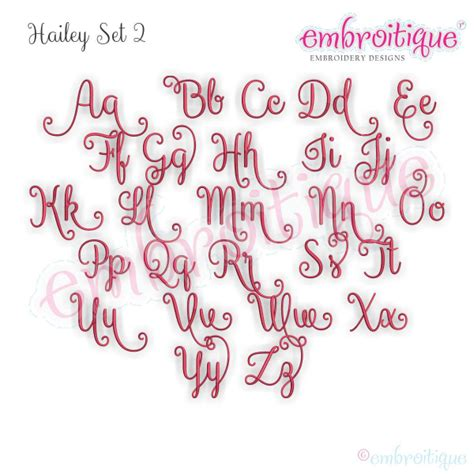alphabets embroidery fonts hailey monogram set  curly swirly calligraphy interchangeable