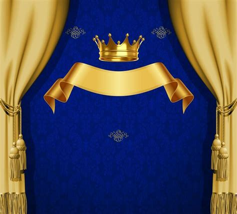 xft royal blue damask pattern gold crown ribbon drape