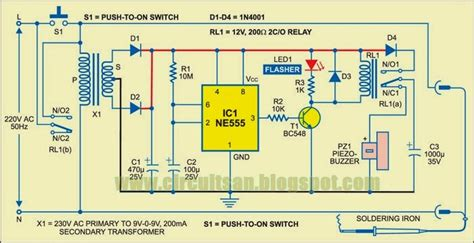 automatic soldering iron switch wiring diagram schematic diy