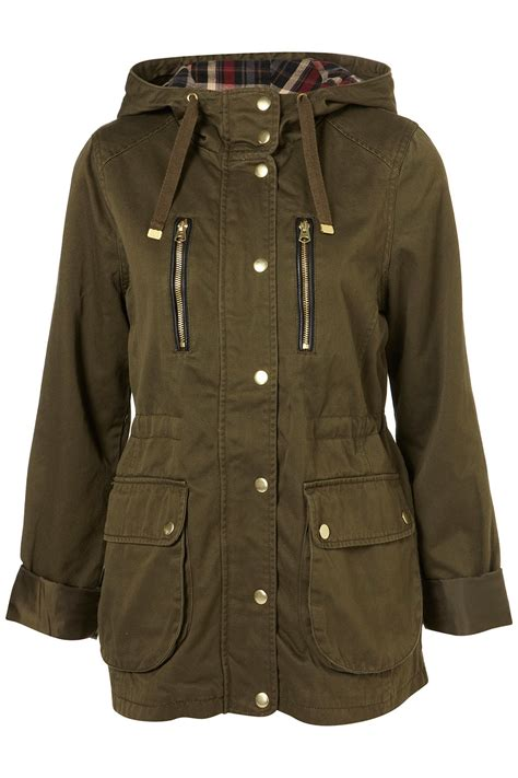 zip up cropped jacket lyst topshop khaki hooded talbot jacket in green