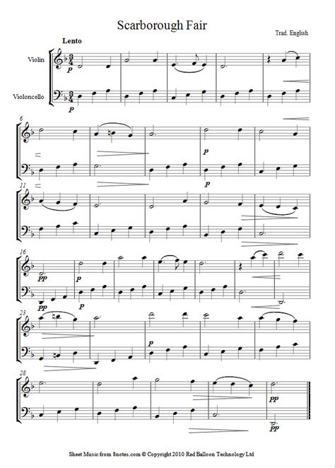 Scarborough Fair Sheet Music For Violincello Duet