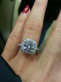 2 carat engagement ring 39 s fiancé proposed with a ritani cushion halo engagement ring its center is 2 1